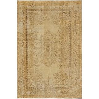 ecarpetgallery Anatolian Sun Wash Yellow Wool Rug (6' x 9'1)