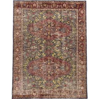 ecarpetgallery Anatolian Sun Wash Blue/ Red Wool Rug (6'11 x 9'2)