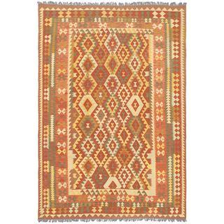 ecarpetgallery Izmir Kilim Brown Wool Kilim (6'9 x 9'9)