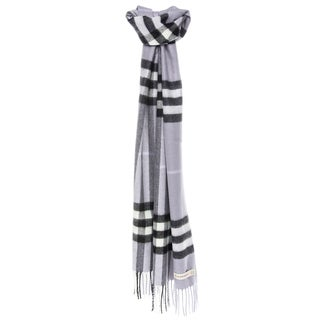Burberry Cashmere Classic Dusty Lilac Check Scarf