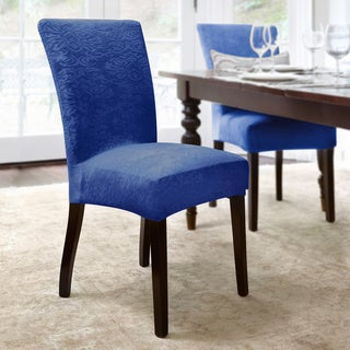 Damask Embossed Stretch Velvet 1-Piece Dining Chair Slipcover