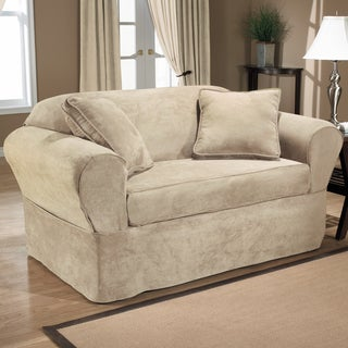 New Luxury Suede 2-Piece Wrap Loveseat Slipcover