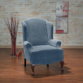 Hanover Stretch Plush 1-Piece Wing Chair Slipcover