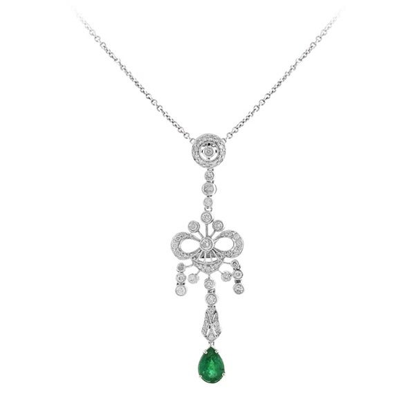 Sonia Bitton 14Kt White Gold .44 Diamonds and Emerald Necklace (I-J, SI1-SI2)