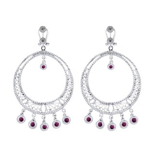 Sonia Bitton 14Kt White Gold .10 Diamonds and Ruby Earrings (I-J, SI1-Si2)