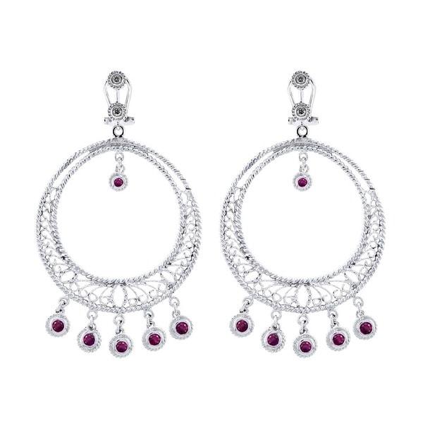 14Kt White Gold .10 Diamonds and Ruby Earrings (I-J, SI1-Si2)