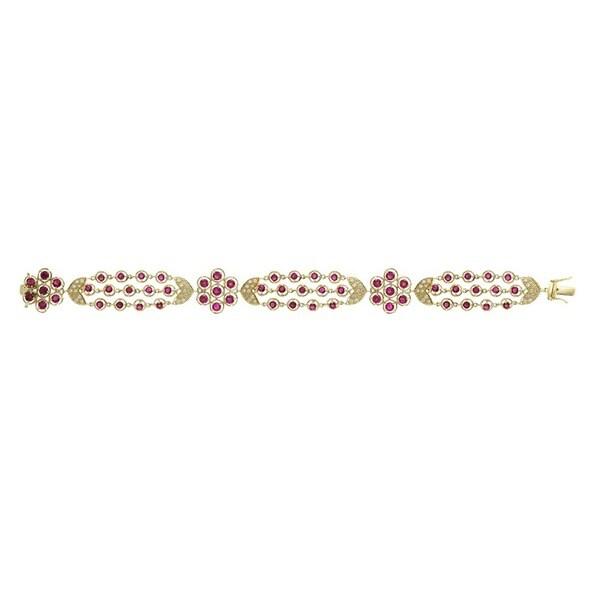 14Kt Rose Gold .60 Diamonds and Ruby Bracelet (I-J, SI1-SI2)