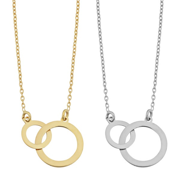 Fremada Sterling Silver Interlocking Circles Adjustable Length Necklace (yellow or white)