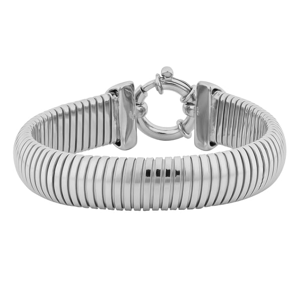 Fremada Rhodium Plated Sterling Silver Bold Cleopatra Bracelet