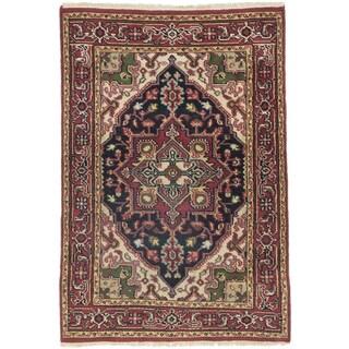 ecarpetgallery Royal Heriz Beige/ Black/ Red Wool Rug (4' x 5'9)