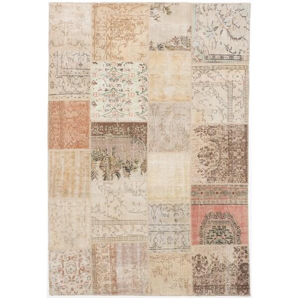 ecarpetgallery Sun Wash Patch Beige Wool Rug (6'8 x 9'9)