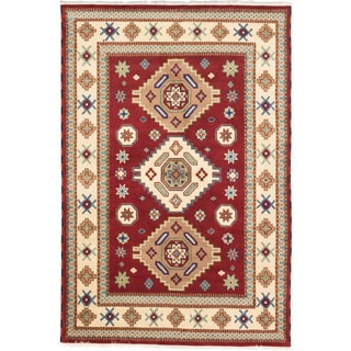 ecarpetgallery Royal Kazak Red/ Yellow Wool Rug (6'8 x 9'10)