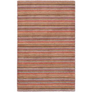 ecarpetgallery Luribaft Gabbeh Riz Brown/ Purple Wool Rug (3'10 x 6')