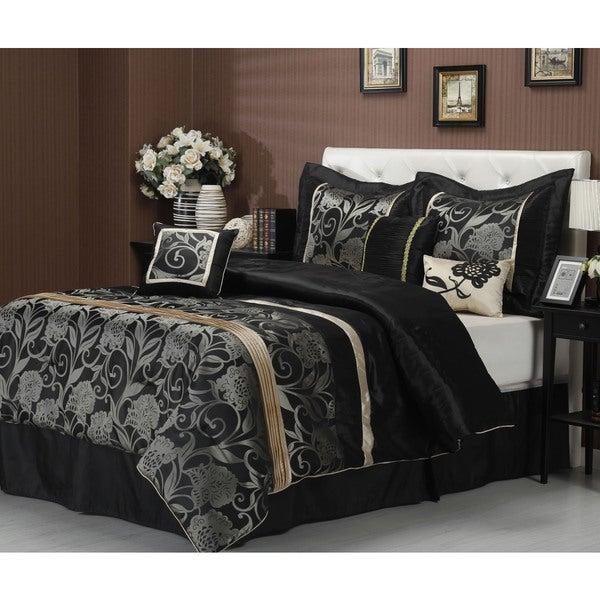 Molybee 7-piece Jacquard Silver/ Black Comforter Set