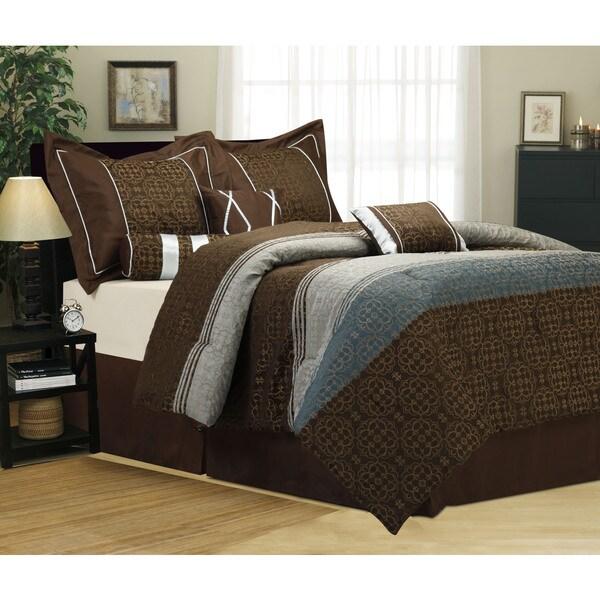 Jennasee 7-piece Jacquard Brown/Blue Comforter Set
