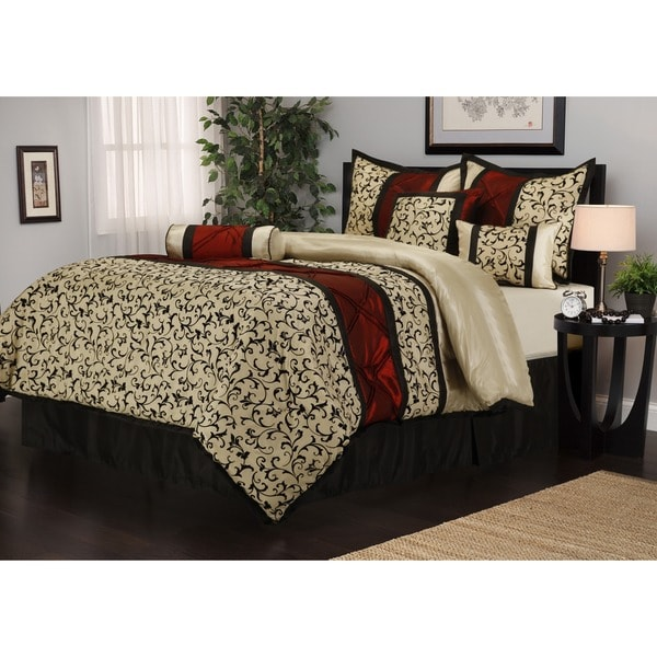 Bella 7-piece Jacquard Red/Beige/Black Comforter Set