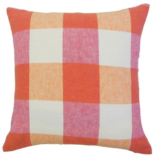 Amory Pink/ Orange Plaid Down and Feather-filled 18-inch Throw Pillow