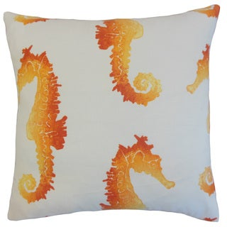Xenos Orange Outdoor Down and Feather-filled 18-inch Throw Pillow