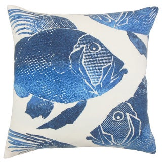 Lael Blue Outdoor Down and Feather-filled 18-inch Throw Pillow