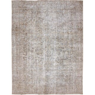 Distressed Mandaily Ivory Hand-Knotted Rug, (9'2 x 11'8)