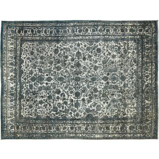 Distressed Mardonio Blue Hand-Knotted Rug, (9'5 x 12'6)