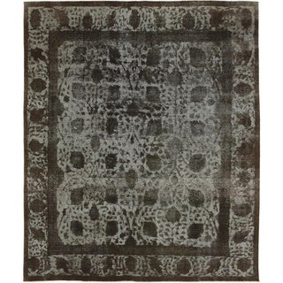 Distressed Margarita Black Hand-Knotted Rug, (9'4 x 11'5)