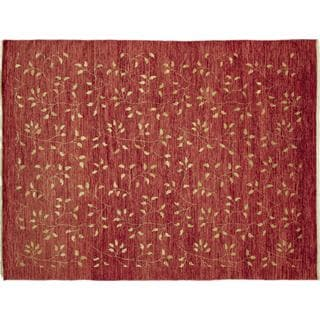 Fine Oushak Nahid Red Hand-knotted Rug, (8'7 x 11'2)
