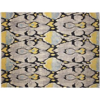 Ikat Nartay Grey Hand-knotted Rug, (9'0 x 12'0)