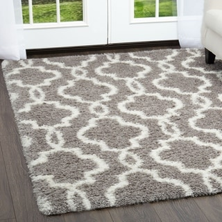 Home Dynamix Glimmer Collection Gray-Ivory (7'10 X 10'2) Machine Made Polyester/Polypropylene Area Rug