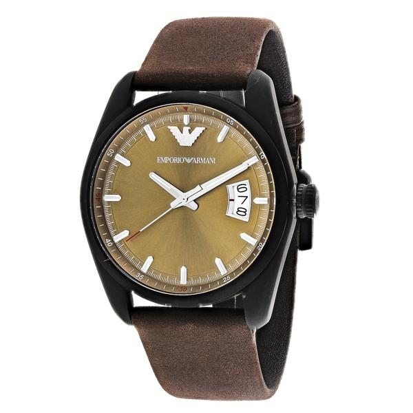 Emporio Armani Men's AR6081 Sportivo Round Brown Leather Strap Watch