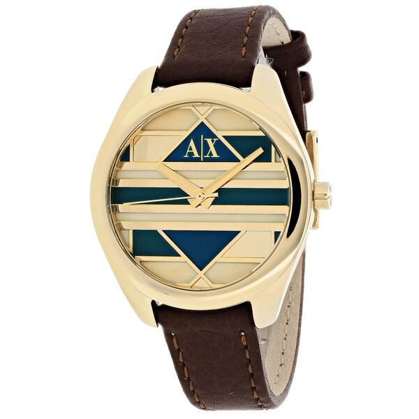 Armani Exchange Women's AX5524 Serena Round Brown Leather Strap Watch