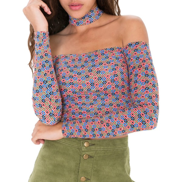 American Apparel Printed Choker Off The Shoulder Top