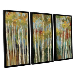 ArtWall Silvia Vassileva's Young Forest, 3 Piece Floater Framed Canvas Set