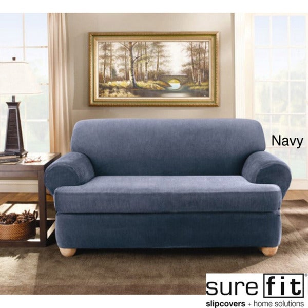Sure Fit Stretch Stripe 2-piece T-cushion Loveseat Slipcover in Navy (As Is Item)