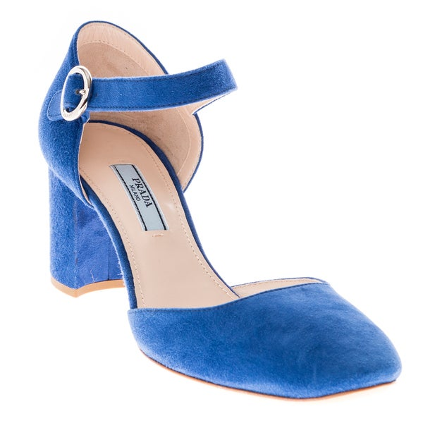 Prada Women's Suede Mary Jane Block Heels