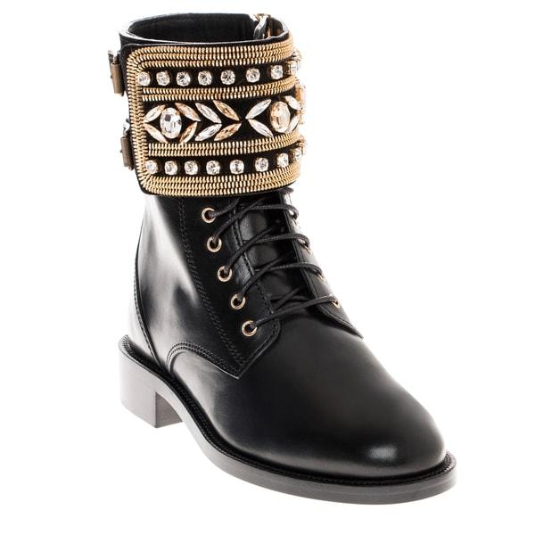 Rene Caovilla Studded-Cuff Leather Boot with Zipper