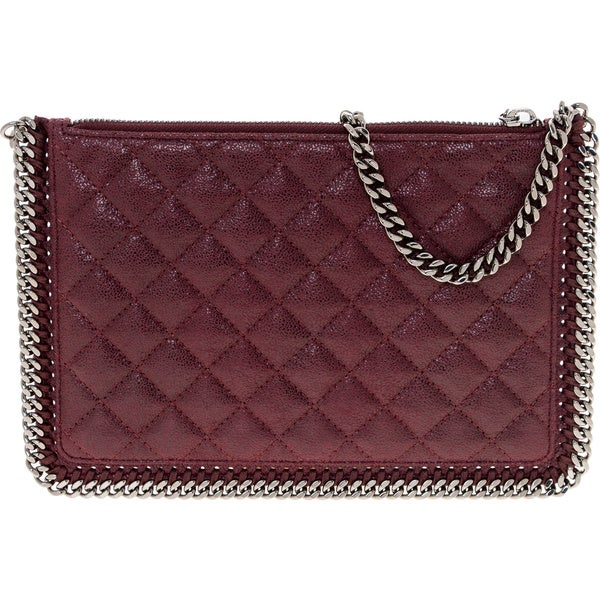 Stella McCartney Falabella Burgundy Quilted Shaggy Deer Handbag