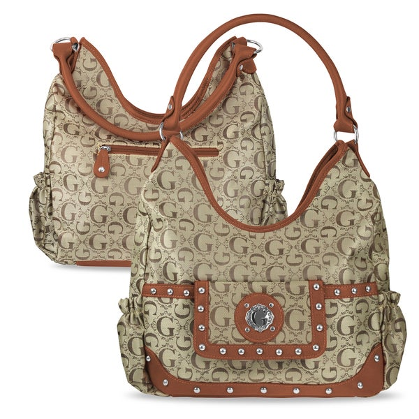 Zodaca Women Tan Jacquard Fabric Hobo Bag K1589