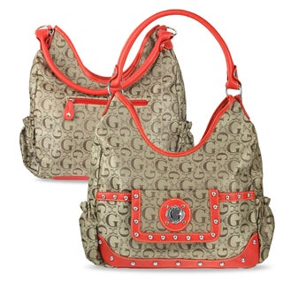 Zodaca Women Red Jacquard Fabric Hobo Bag K1589