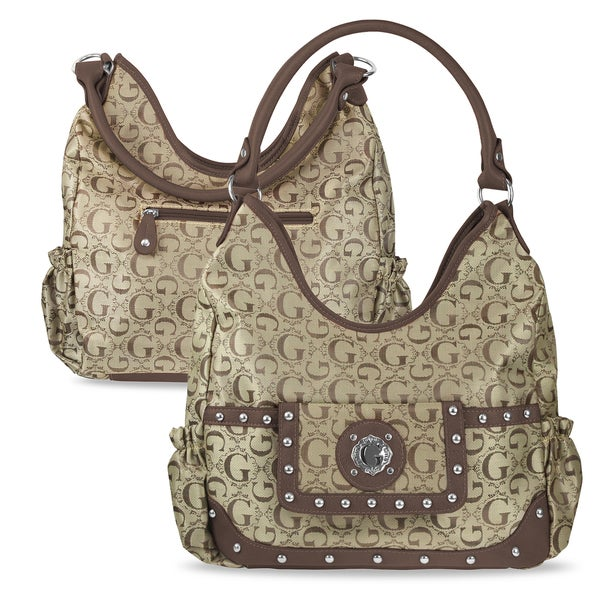 Zodaca Women Brown Jacquard Fabric Hobo Bag K1589
