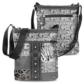 Zodaca KE1611 Women's Jacquard Fabric Fashion Casual Patchwork Leather Crossbody Bag