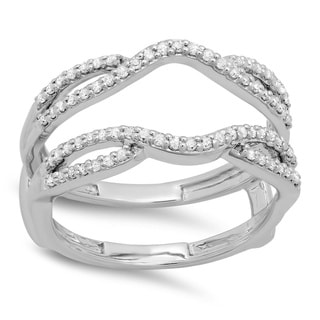 14K Gold 1/3 ct TDW White Diamond Anniversary Wedding Band Split Shank Enhancer Guard Double Ring 1/3 CT (I-J, I1-I2)