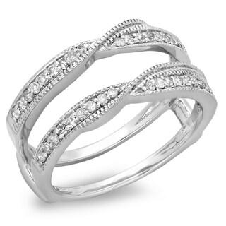 14K Gold 1/3 ct. TDW Round Diamond Ladies Anniversary Wedding Band Enhancer Guard Double Ring 1/3 CT (I-J, I1-I2)