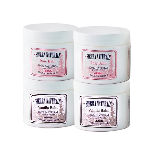 Sierra Naturals Handmade Organic Scented 2 Rose and 2 Vanilla Balms (Set of 4)