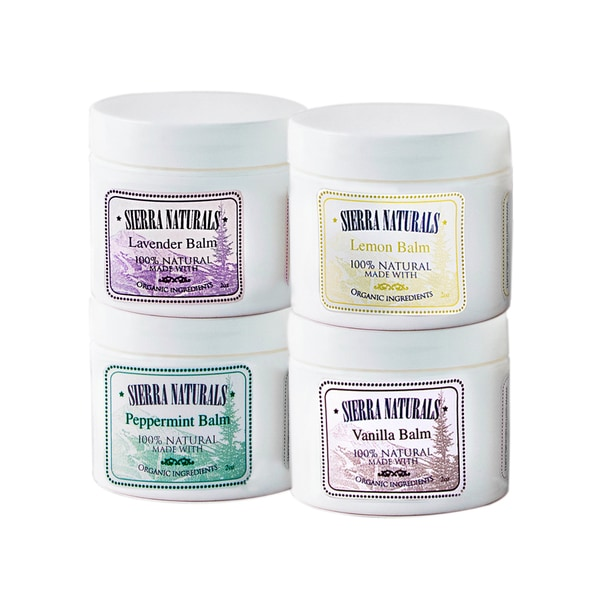 Sierra Naturals Handmade Organic Scented Lavender, Lemon, Peppermint and Vanilla Balm (Set of 4)