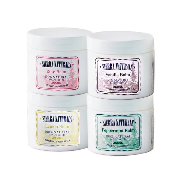 Sierra Naturals Handmade Organic Scented Lemon, Peppermint, Rose and Vanilla Balm (Set of 4)