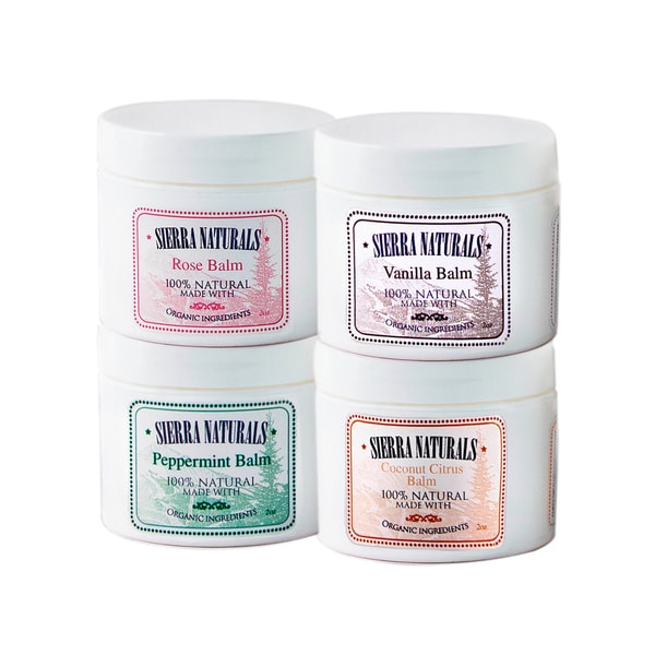 Sierra Naturals Handmade Organic Scented Peppermint, Coconut Citrus, Rose and Vanilla Balm (Set of 4)
