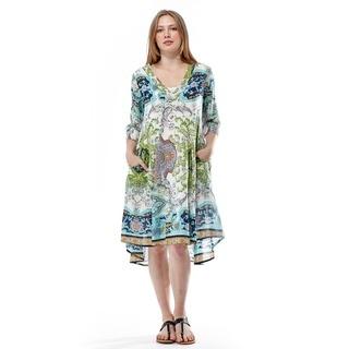 La Cera Women's 3/4 Sleeve Printed Dress