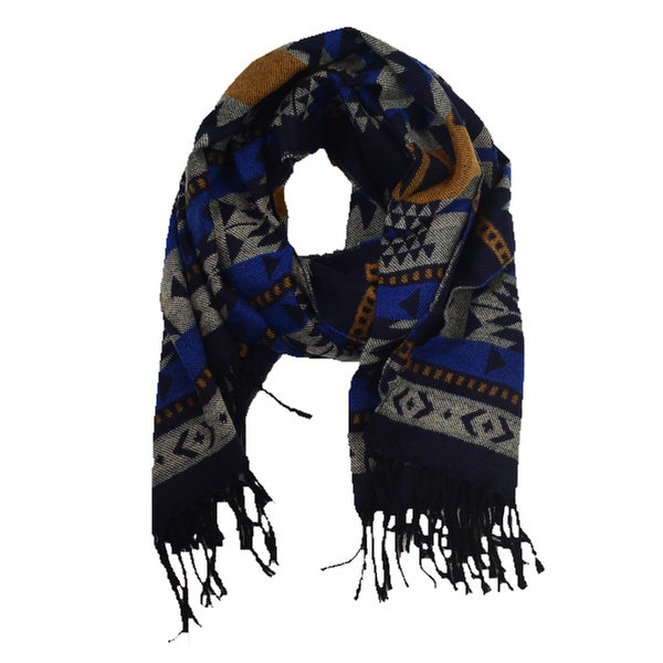 LA77 Long Navy Geometric Blanket Scarf
