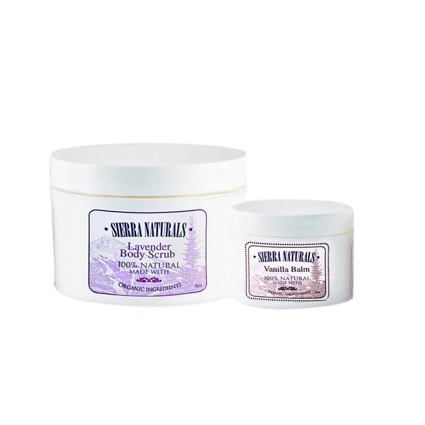 Sierra Naturals Handmade Organic Scented Lavender Dead Sea Scrub and Vanilla Balm (Set of 2)